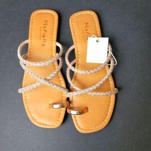 MARIELLA Rhinestone Toe Ring Flat Sandal